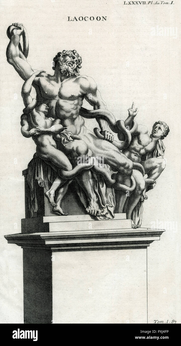 Laocoon, a priest of Apollo at Troy, is strangled, together with his sons, by serpents : this famous sculpture, probably 2nd century BC, was discovered at Rome in 1506 - Stock Image