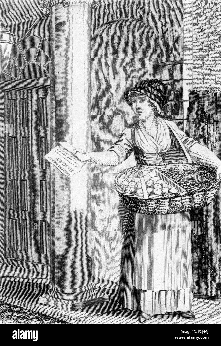 'Buy a bill of the play !' a street trader offers programmes, fruit and nuts outside Drury Lane theatre, London     Date: circa 1800 - Stock Image