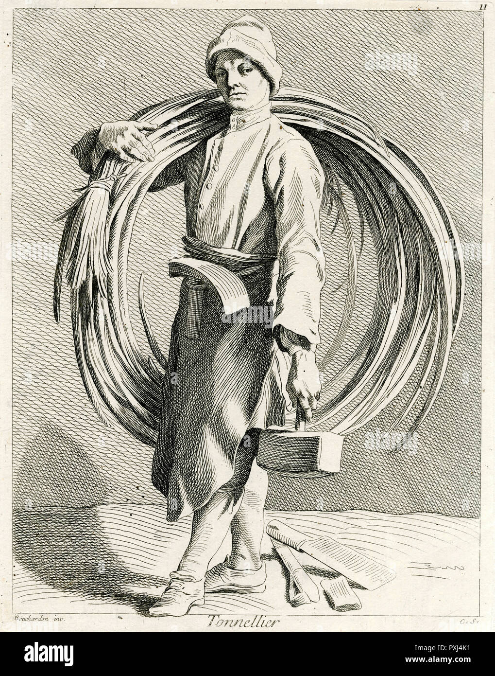 A French TONNELLIER - a barrel-maker       Date: circa 1740 - Stock Image