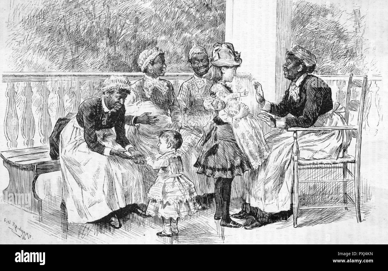 A relaxed looking group of black nurses with their charges sit on the verandah somewhere in America      Date: 1886 - Stock Image