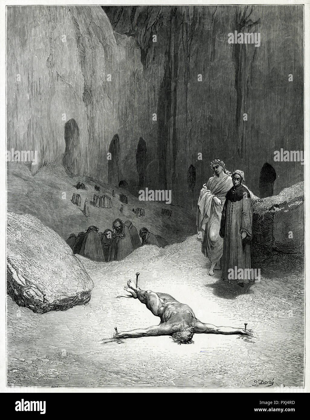 A sinner is pegged out on the ground of Hell, condemned to suffer thus for ever...      Date: First published: 1307-21? - Stock Image