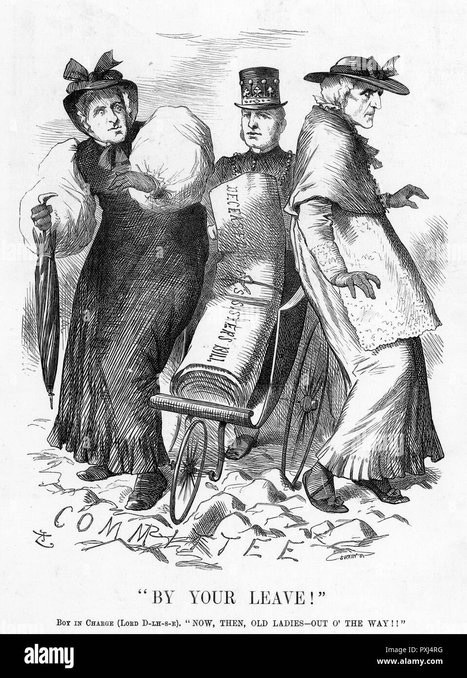 The DECEASED WIFE'S SISTER'S BILL is pushed through Parliament by Lord Dalhousie, allowing a man to marry his dead wife's sister if he chooses and she agrees     Date: 1883 - Stock Image