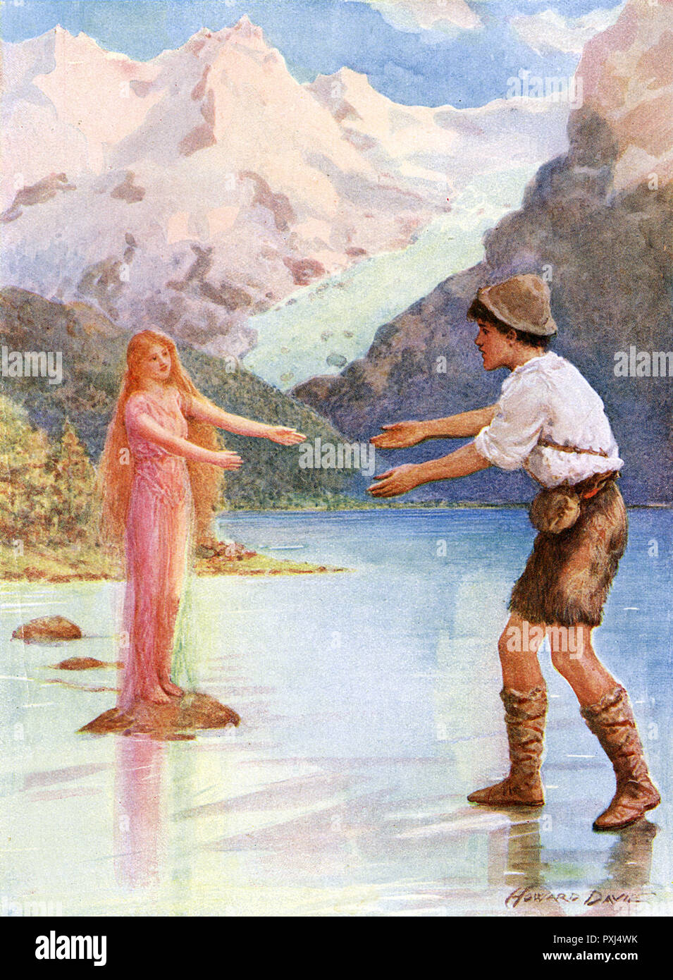 Water nymphs have magic powers - they can make it possible for mortals to walk across water, when it suits them... but beware the consequences if they ensnare you !     Date: circa 1900 - Stock Image