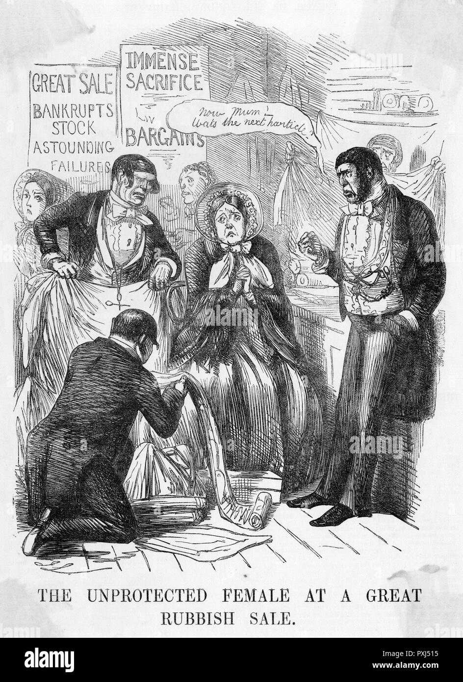 'THE UNPROTECTED FEMALE AT A GREAT RUBBISH SALE' The customer is depicted as the victim of unscrupulous shopkeepers      Date: 1853 - Stock Image