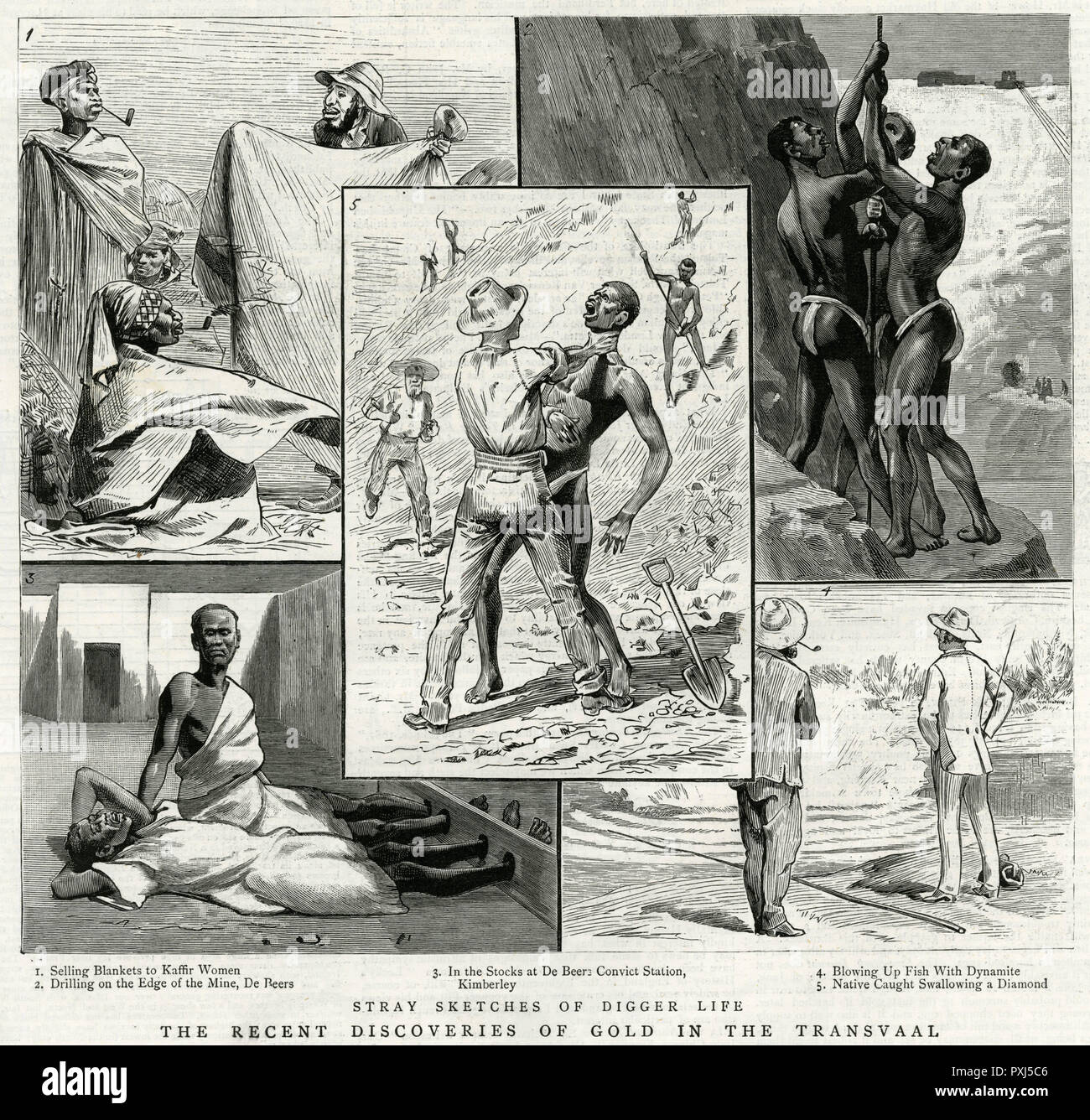 Various scenes showing the mistreatment of black workers in the diamond mines of South Africa.     Date: 1887 - Stock Image