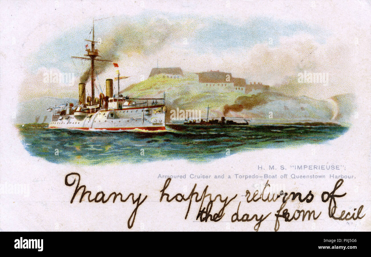 British armoured cruiser, accompanied by a torpedo boat, depicted off Queenstown harbour, Ireland      Date: 1901 - Stock Image