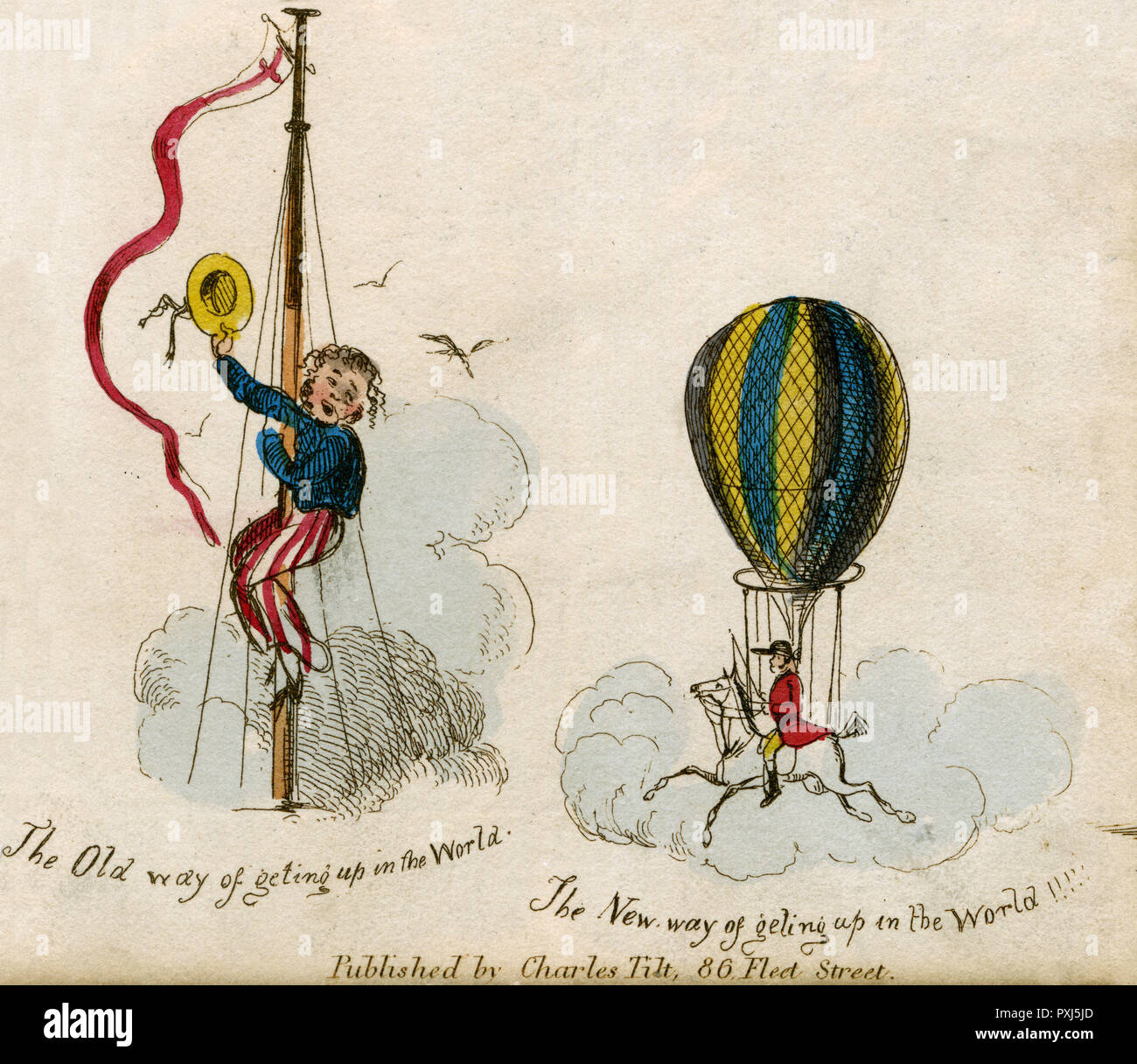 A sailor up in the clouds atop a mast head waves his straw boater at his ship mates below.      Date: circa 1830 - Stock Image