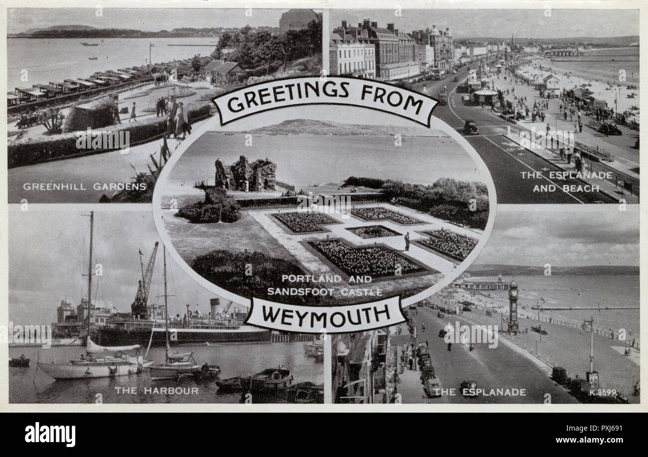 Greetings from Weymouth, Dorset - Multiple view postcard.     Date: circa 1930s - Stock Image