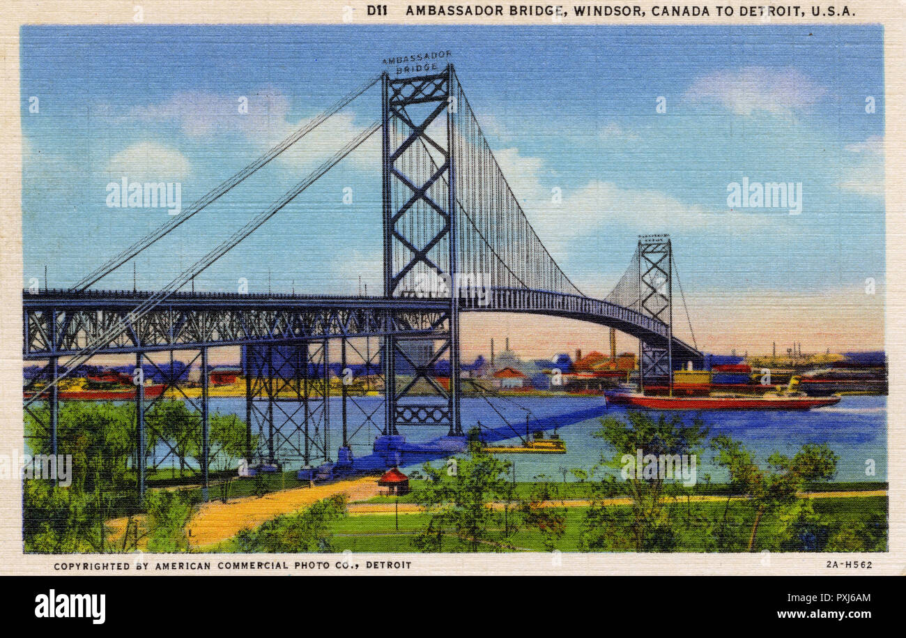 Ambassador Bridge between Windsor, Canada and Detroit, USA. The longest suspension bridge in the world when opened with a main span of 1850 feet and total length of 2 miles! The bridge was opened on November 11th, 1929.     Date: 1932 - Stock Image