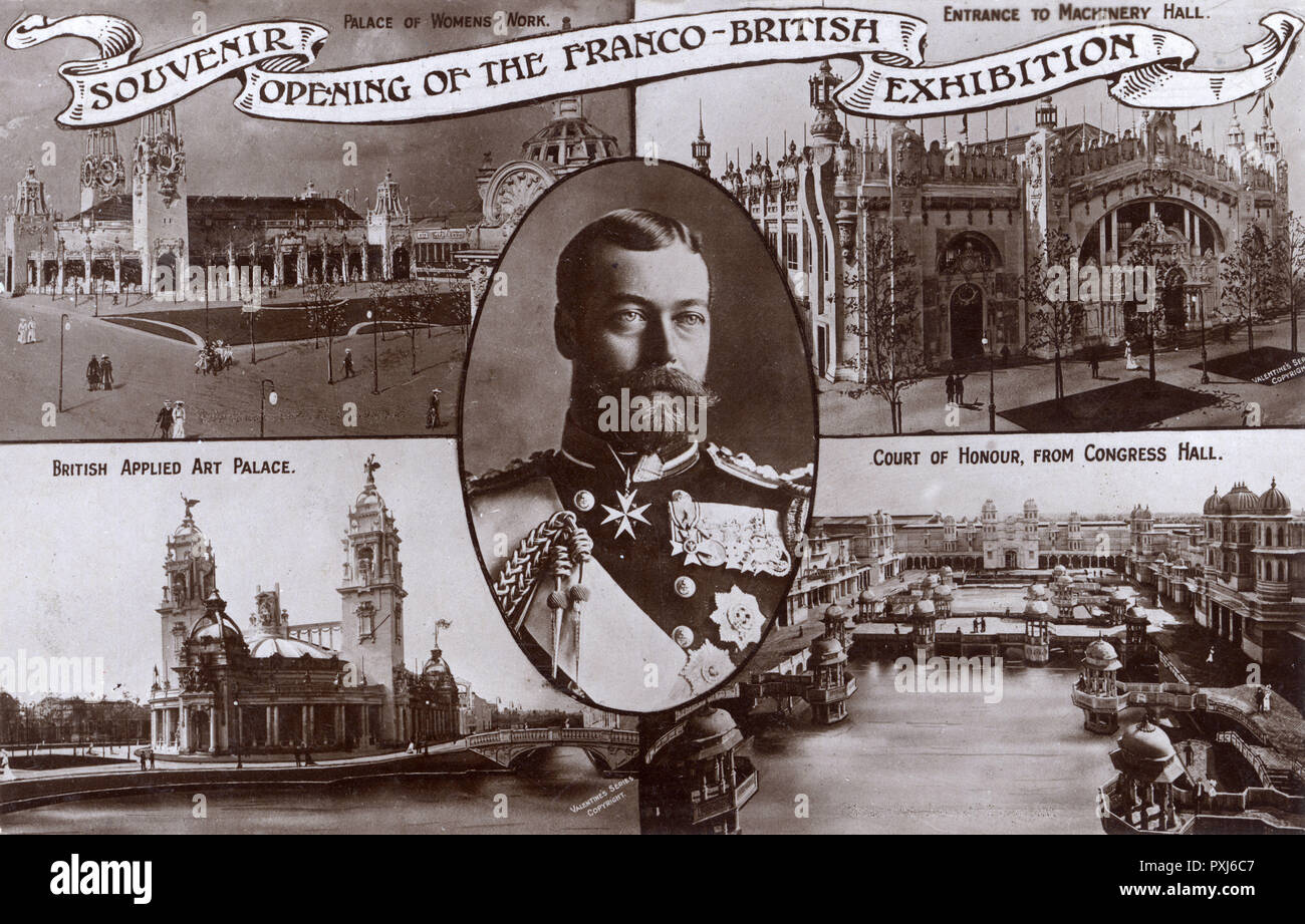 Opening of the Franco-British Exhibition - which was opened by George, Prince of Wales (later King George V) on the 14th May 1908. The card shows the Palace of Women's Work, the entrance to Machinery Hall, the British Applied Art Palace and the Court of Honour viewed from Congress Hall.     Date: 1908 - Stock Image