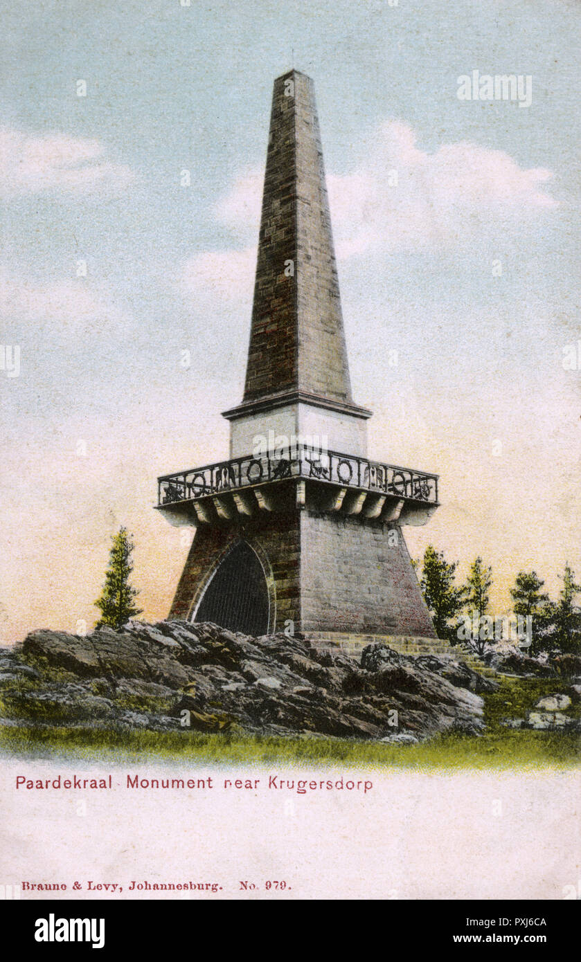 The Paardekraal Monument, erected by the Boers at Krugersdorp after they took a vow to free Transvaal from the clutches of the British Empire (a wish fulfilled during the First Anglo-Boer War of 1880-1881). Unveiled by President Paul Kruger on 16th December 1891.     Date: circa 1905 - Stock Image