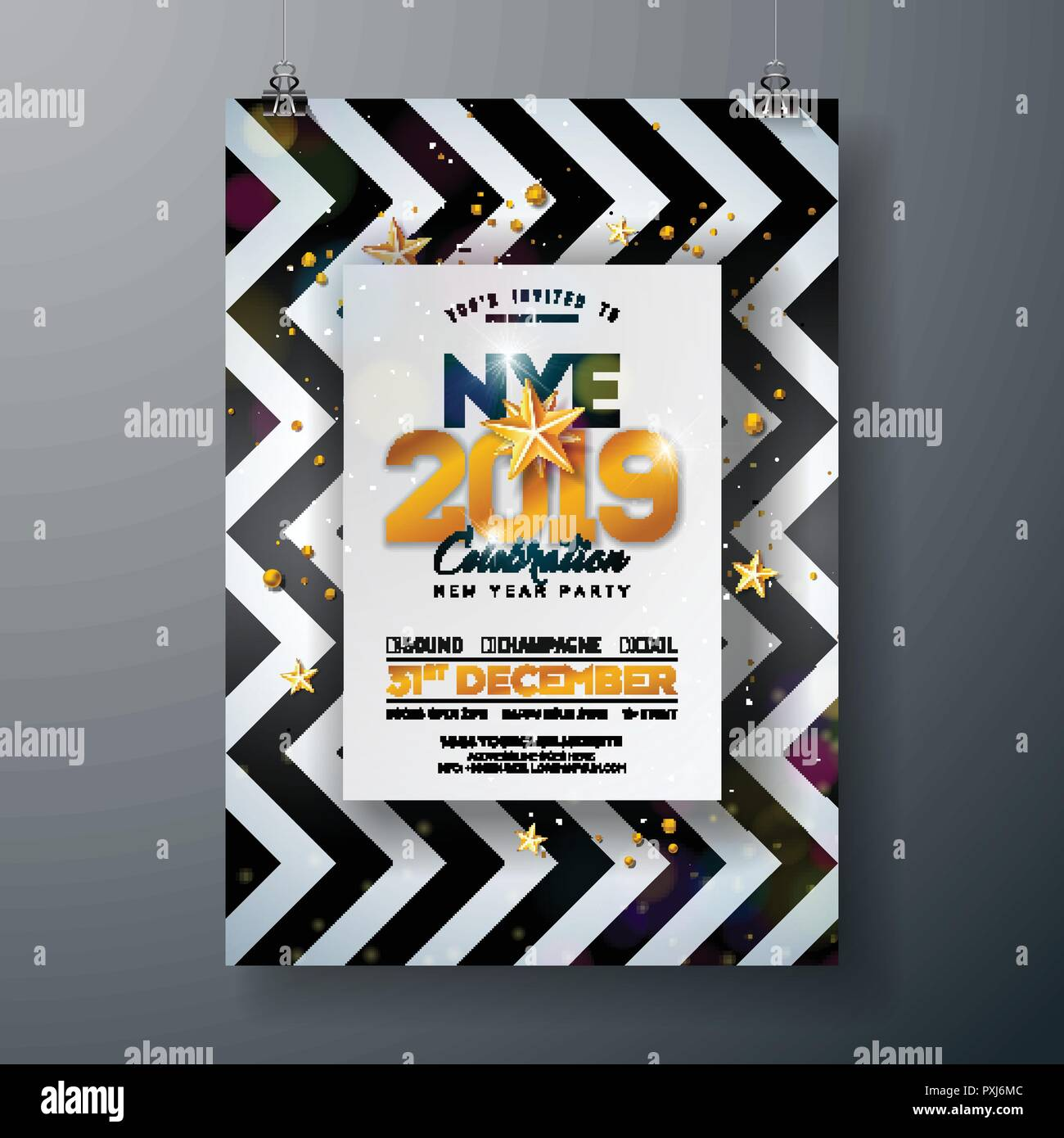 2018 new year party celebration poster template illustration with shiny gold number on abstract black and white background