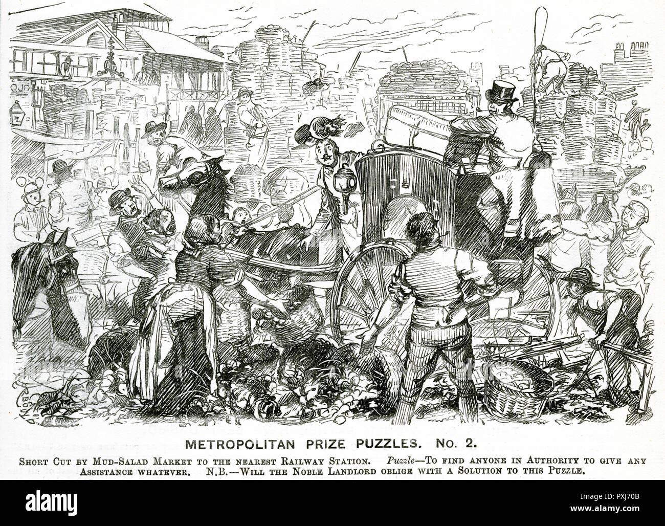 (Metropolitan Prize Puzzle No. 2). Dismay on the faces of the market stall sellers as a horse and cart tramples all over the baskets of veg.     Date: 1883 - Stock Image