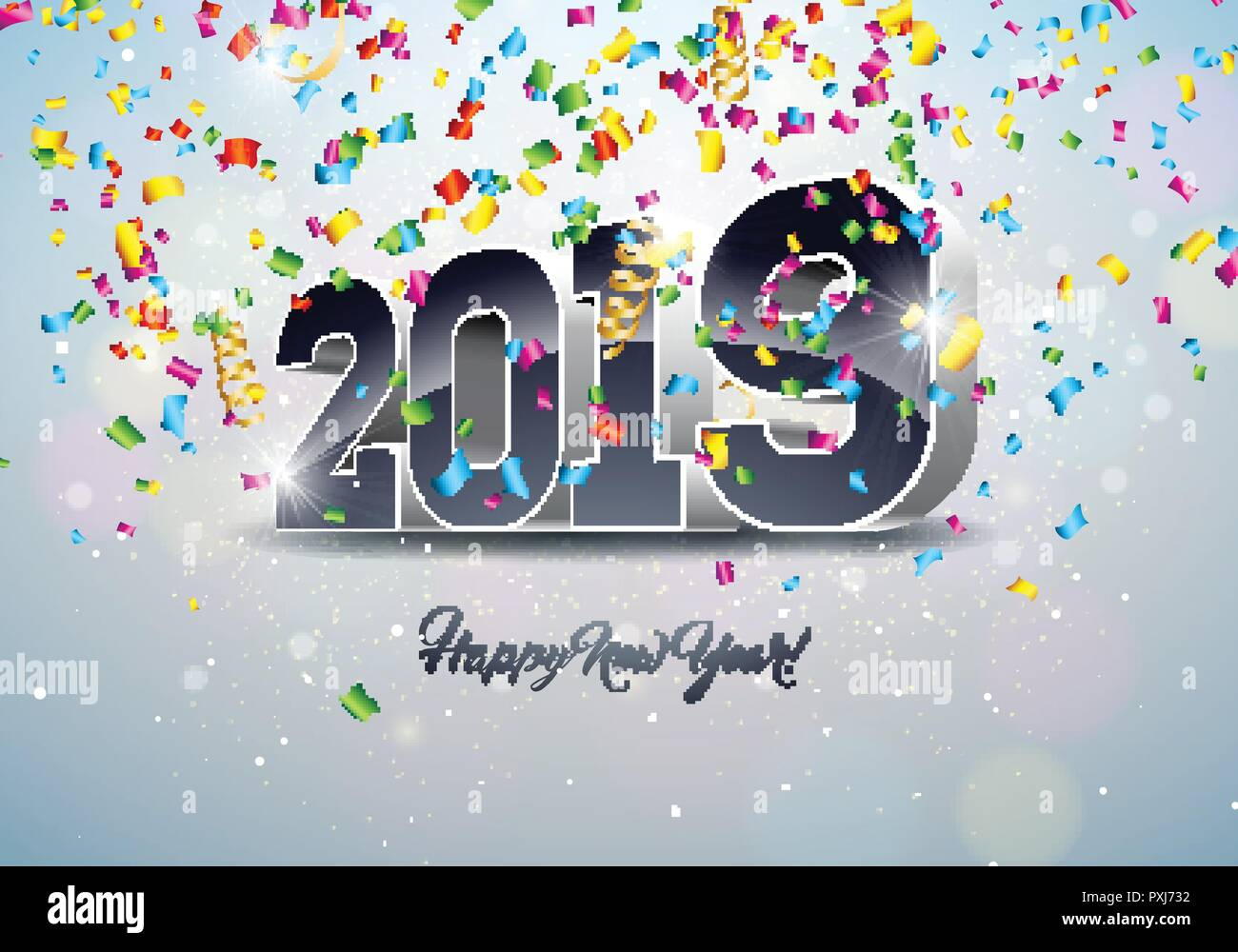 2019 Happy New Year Illustration With 3d Number And Falling Confetti