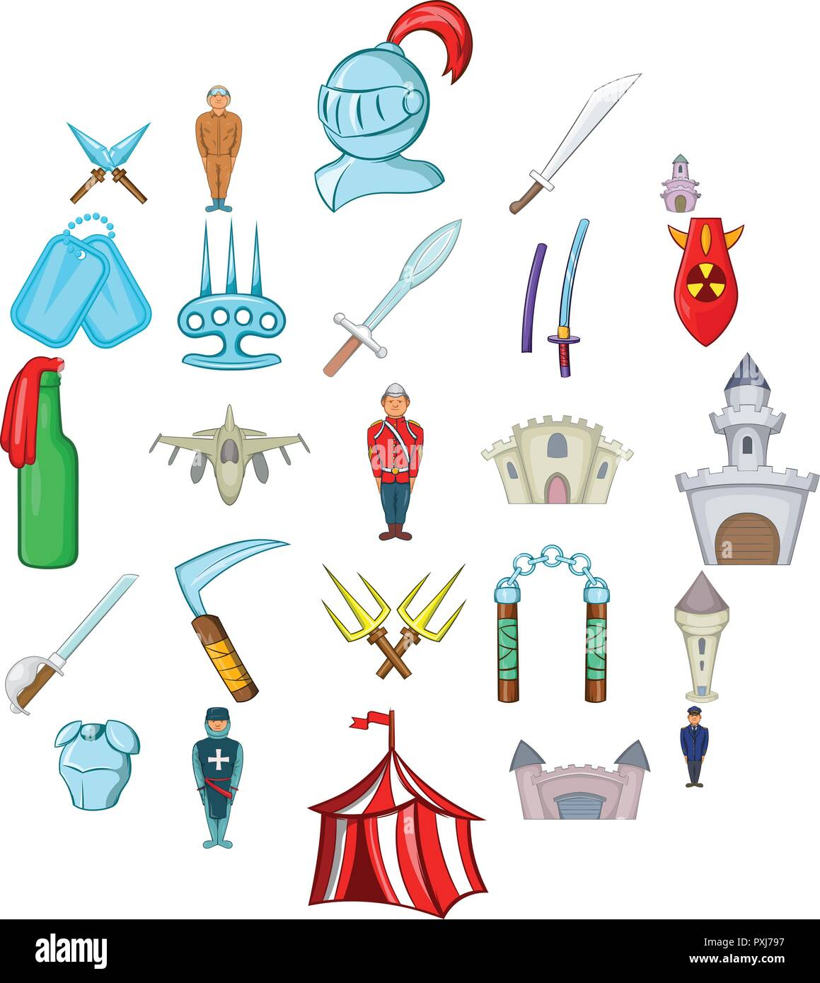 Belligerent icons set, cartoon style - Stock Image
