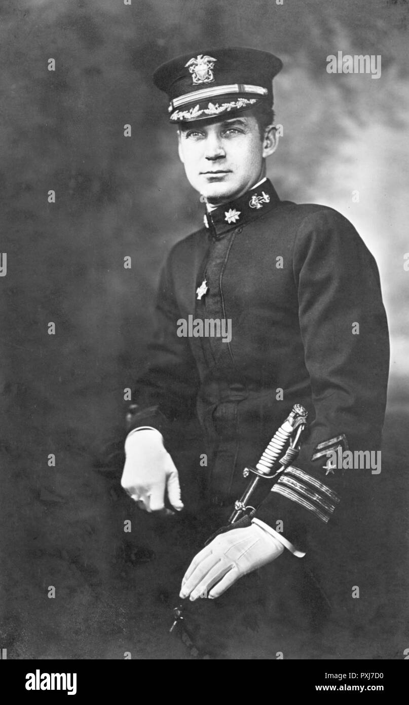 James Jonas Madison wearing the Medal of Honor, Tiffany Cross. Commanding Officer of USS Ticonderoga. Commander James J Madison, (1884 – 1922) officer in the United States Naval Reserve and a World War I recipient of the Medal of Honor - Stock Image