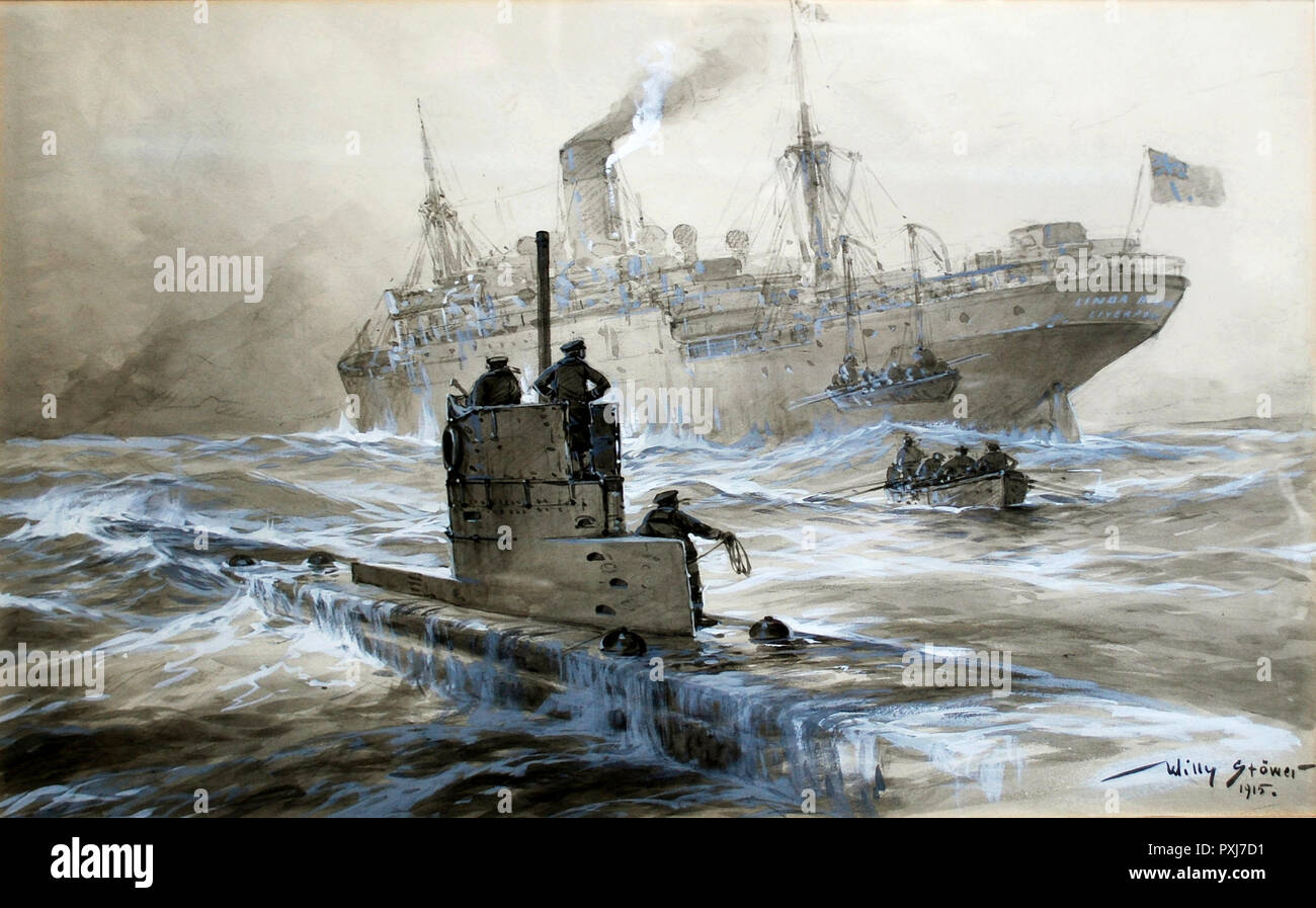 Attack of U-21 on the Linda Blanche, 1915 - Stock Image
