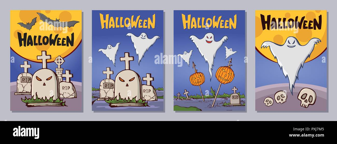 Halloween hand drawn invitation or greeting cards set with lattering. Color cartoon shapes. Tombs, crosses, pumpkins, bats, skulls, ghosts, trees, moo Stock Vector