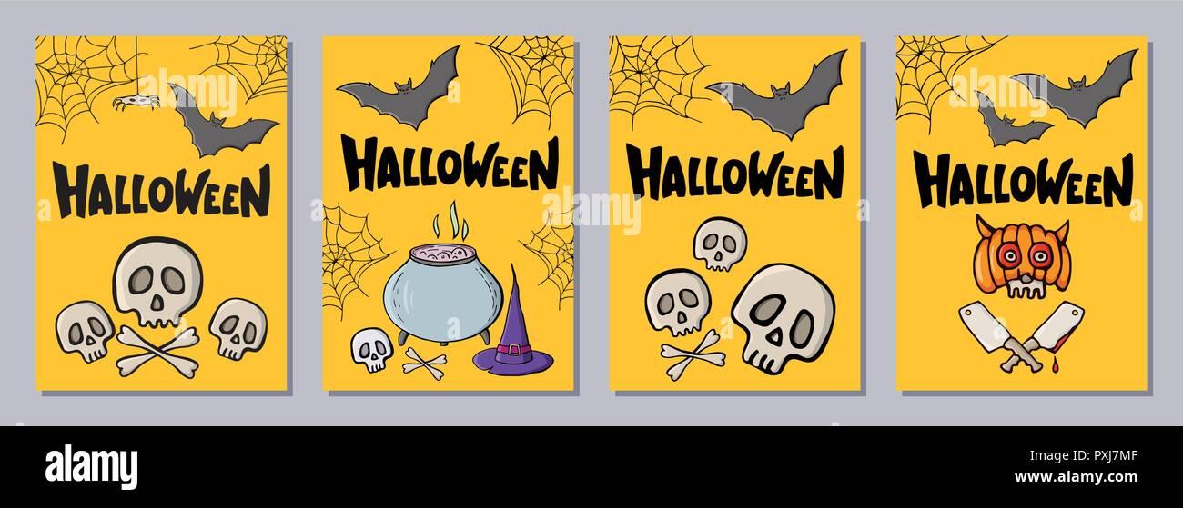 Halloween hand drawn invitation or greeting cards set with lattering. Color cartoon shapes. Skulls, bats, web, spiders, hat, bones, cauldron, cleaver. Stock Vector
