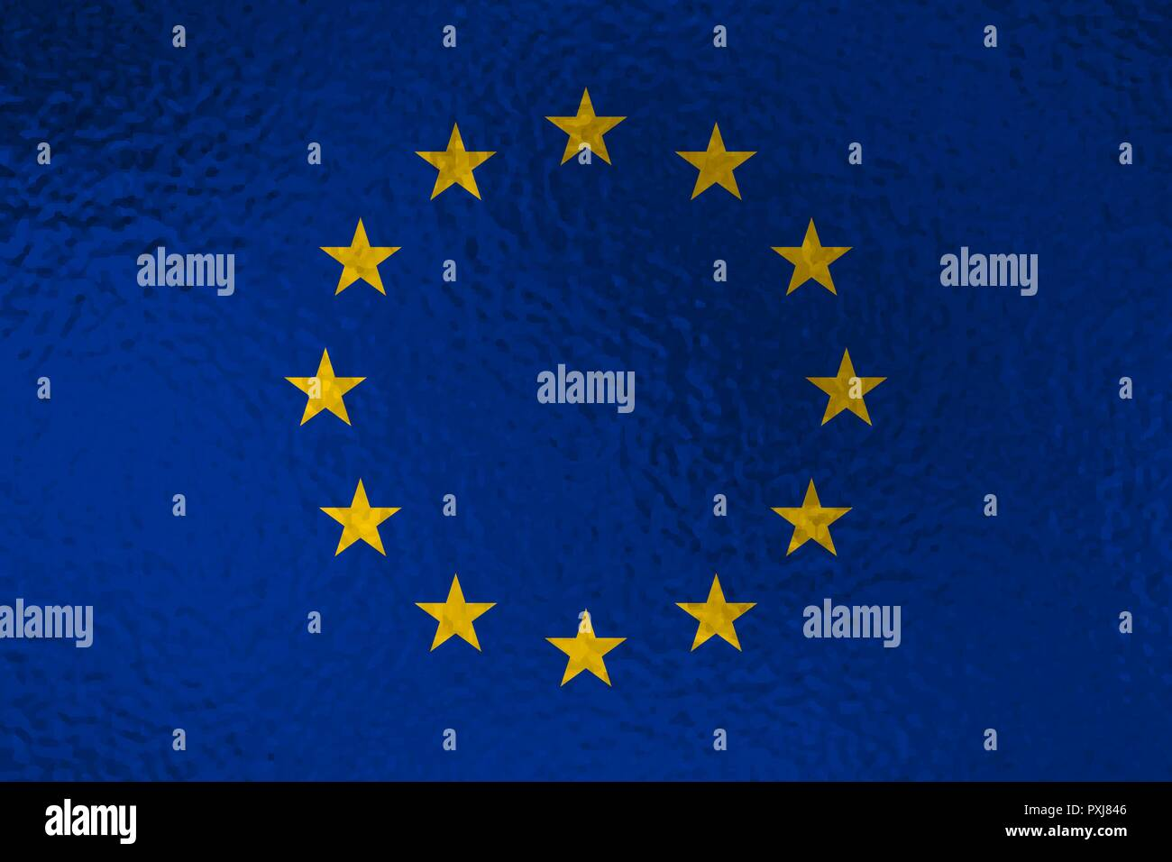 Flag of European Union with glass effect. Vector illustration - Stock Vector