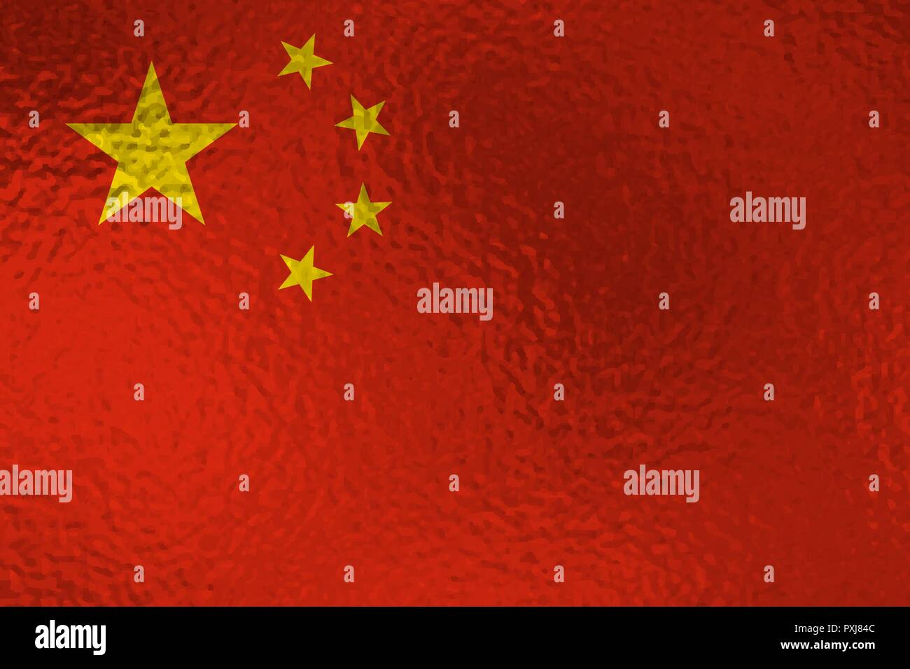 Flag of China with glass effect. Vector illustration - Stock Vector