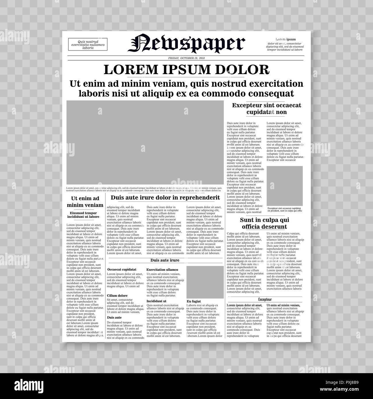 Newspaper Front Page Template | Realistic Newspaper Front Page Template Vector Illustration