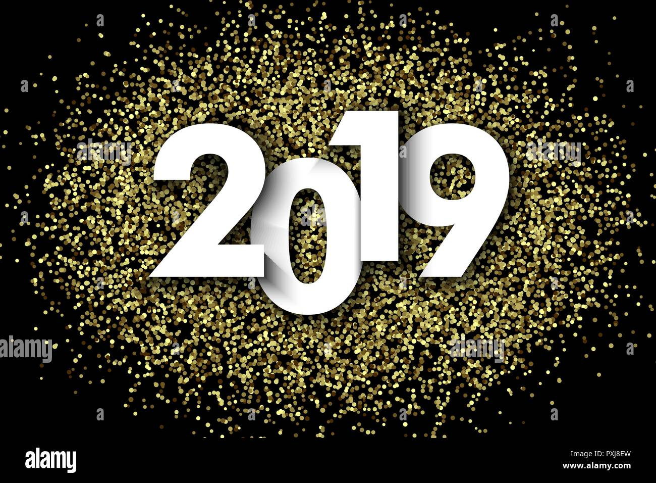 2019 new year background with gold glitter confetti festive premium design template for holiday greeting card