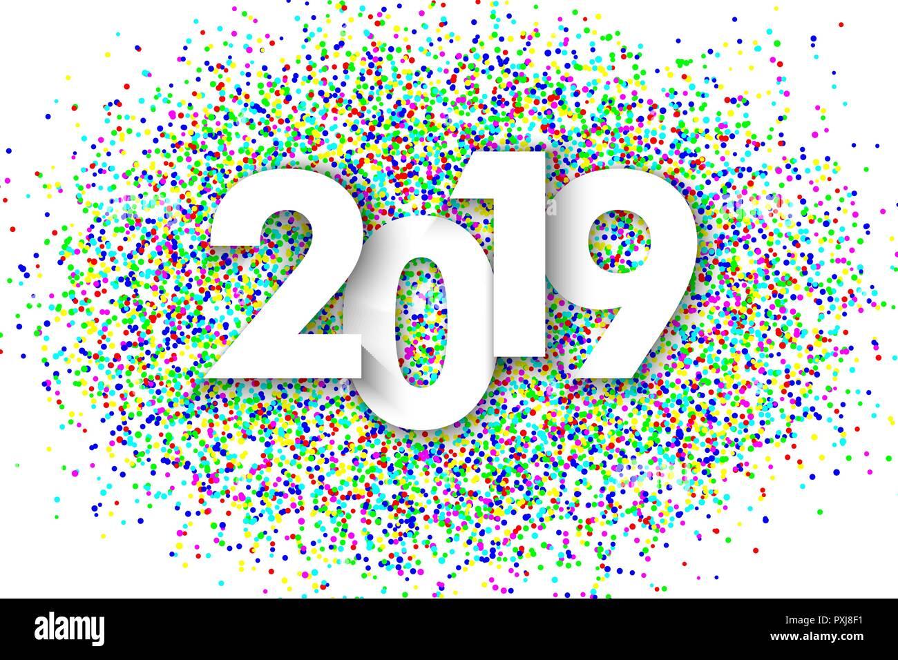 2019 new year background with colorfull glitter confetti  festive premium design template for