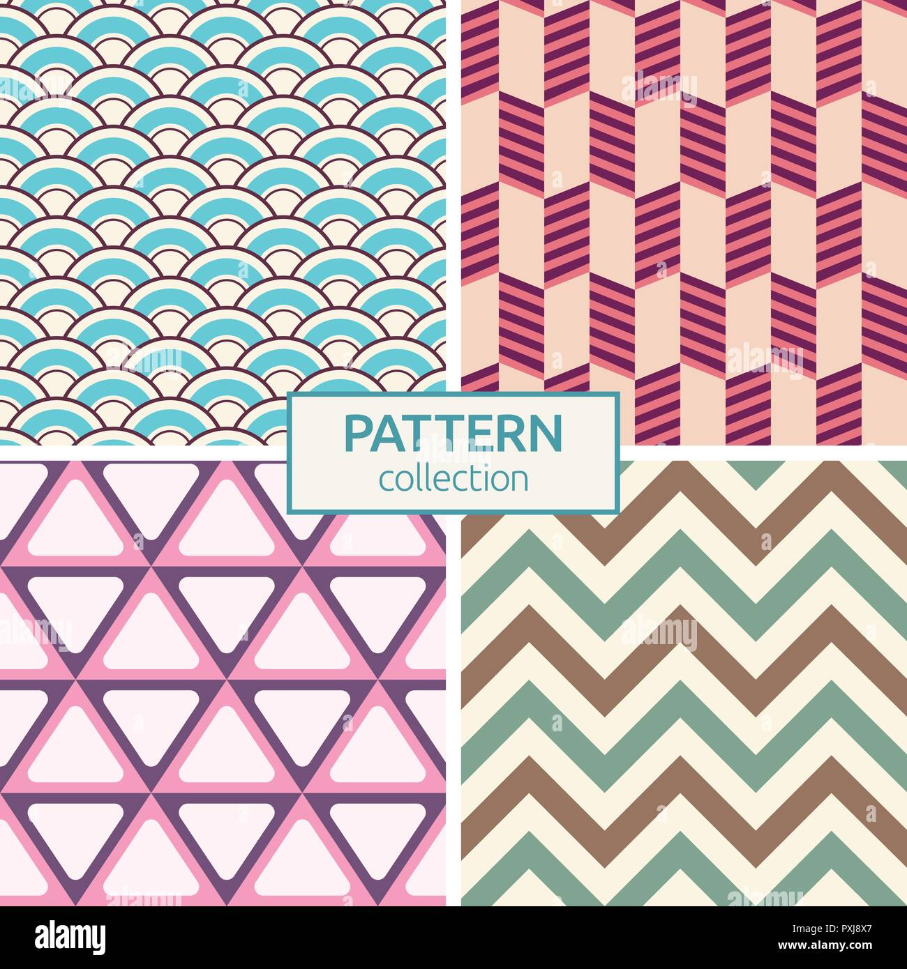 set of four color seamless patterns. modern stylish textures of