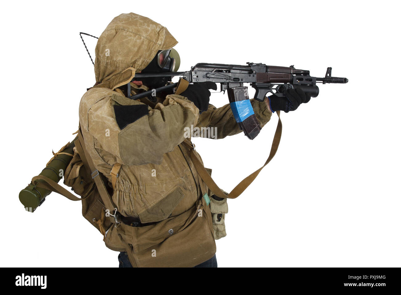 Post-apocalyptic fiction concept - stalker in gas mask with ak-47 gun isolated on white - Stock Image