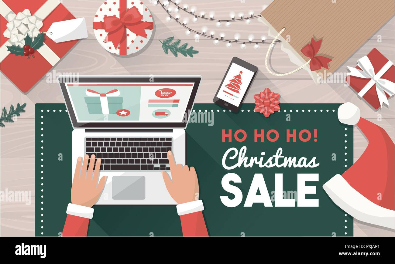 Santa ordering Christmas gifts online and connecting with his laptop ...