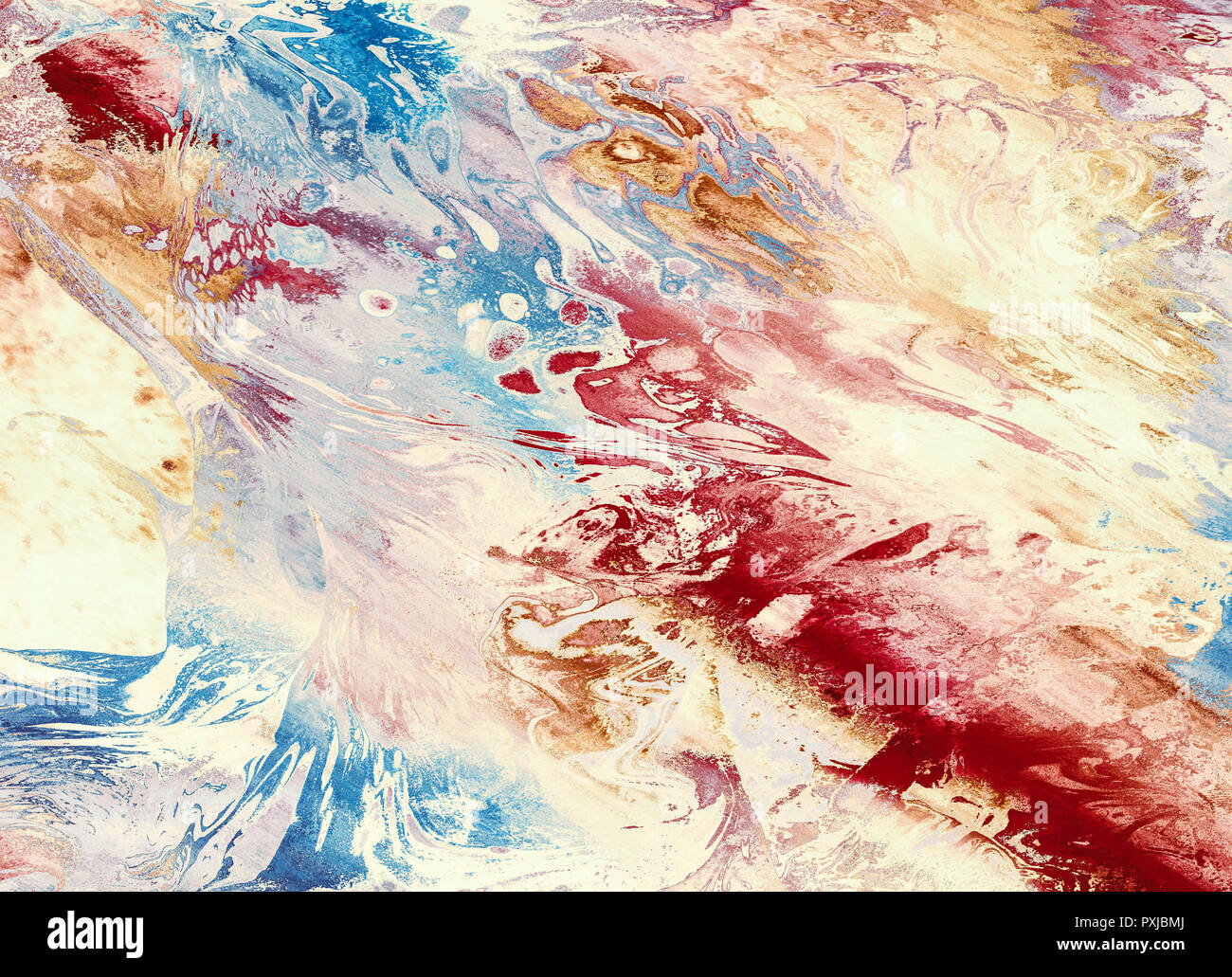 Colorful abstract background, wallpaper and rich, bright, texture with space for text. Liquid acrylic mixed color brushstroke. Underwater fantasy worl - Stock Image