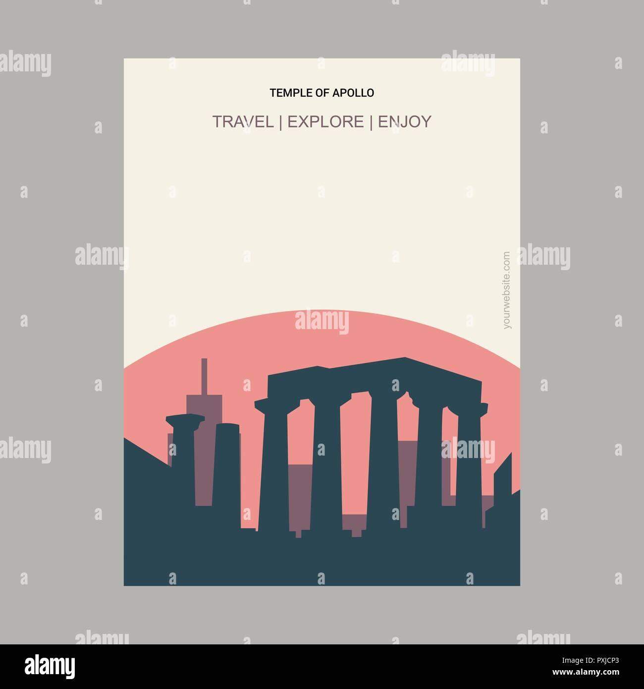 Temple of Apollo Attica, Greece. Vintage Style Landmark Poster Template - Stock Vector