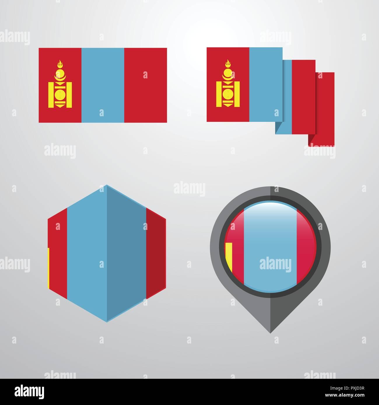Mongolia flag design set vector - Stock Vector