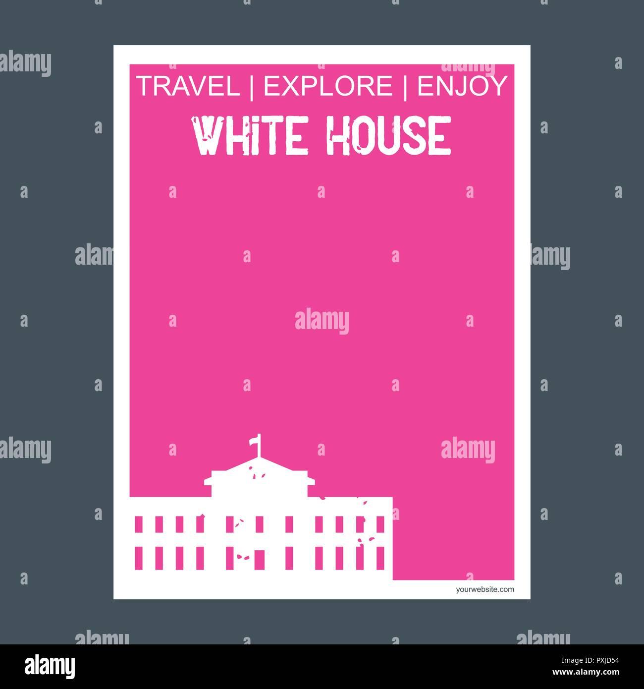 White house Washington, D.C.  U.S.A monument landmark brochure Flat style and typography vector - Stock Vector