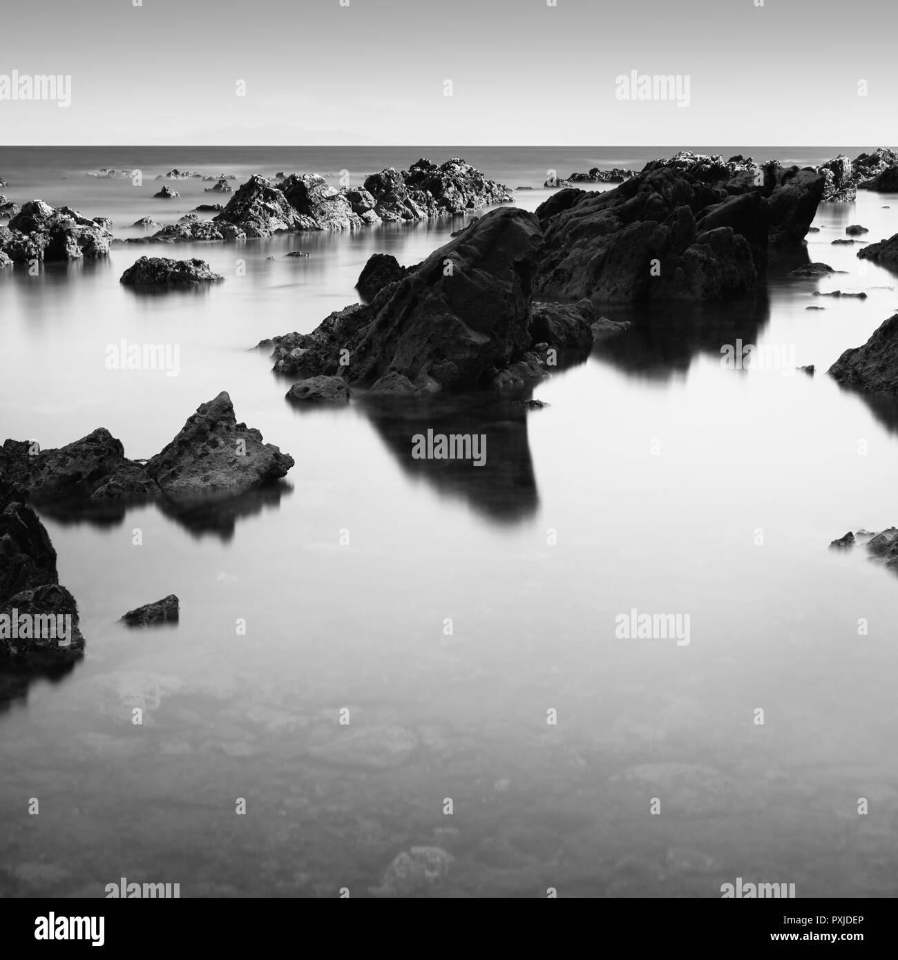 Sea rocks and silky water at Arasaki coast, Miura Peninsula, Japan - Stock Image