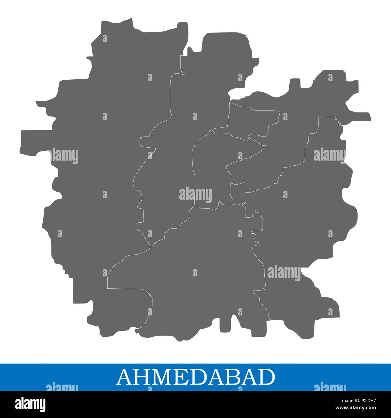 High Quality map of Ahmedabad is a city of India, with borders of districts - Stock Vector