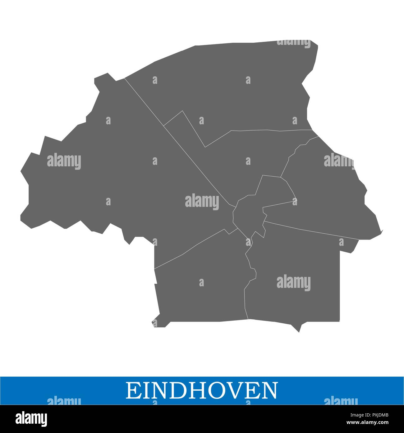 High Quality map of Eindhoven is a city of Netherlands, with borders ...