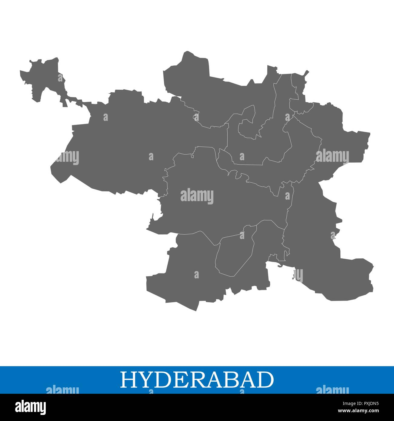 Where Is Hyderabad Located In India Map.High Quality Map Of Hyderabad Is A City Of India With Borders Of