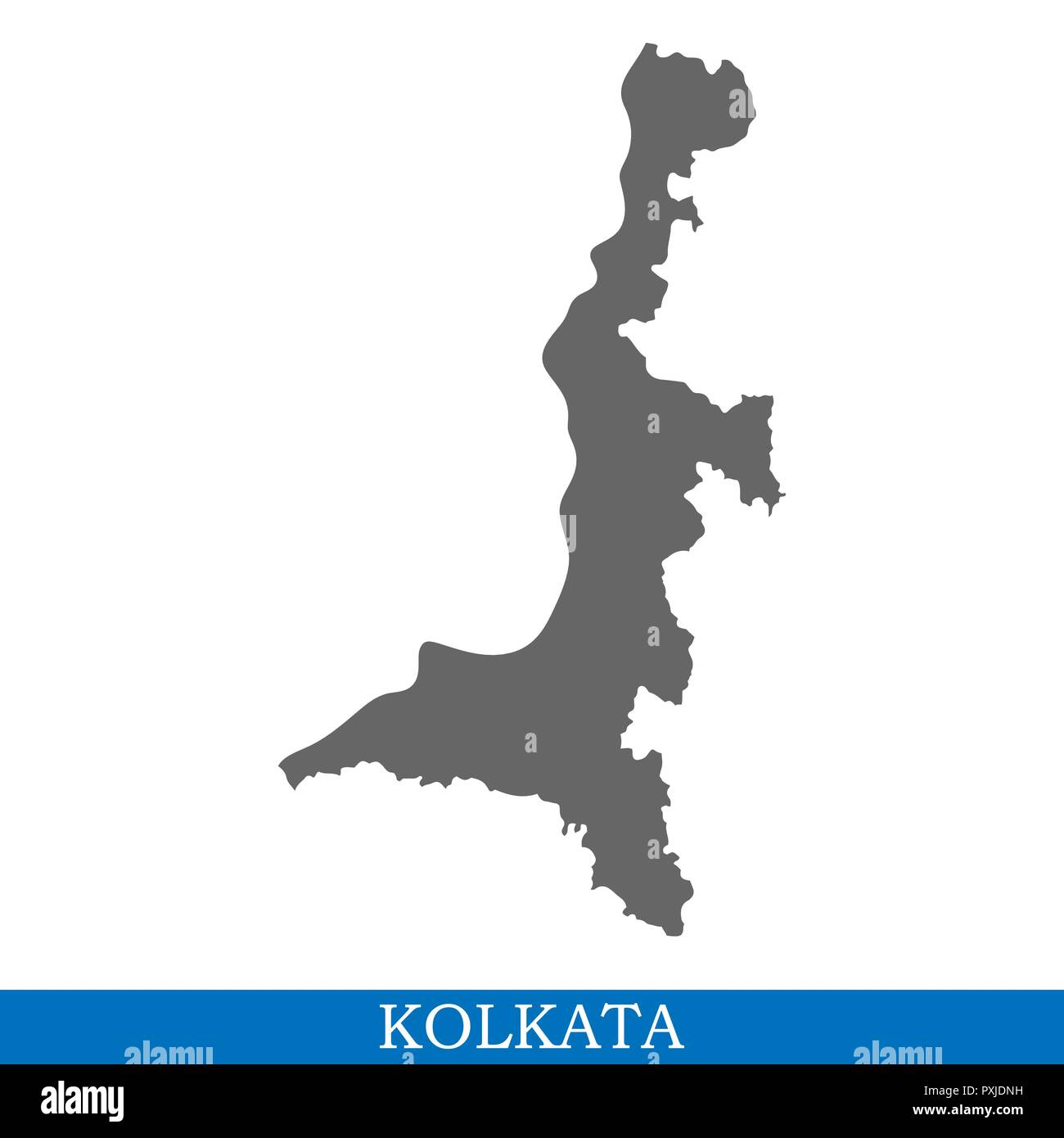 High Quality map of Kolkata is a city of India, with borders of districts - Stock Vector