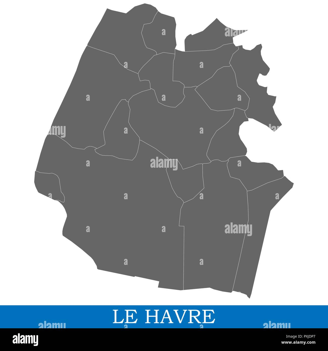 High Quality Map Of Le Havre Is A City Of France With Borders Of