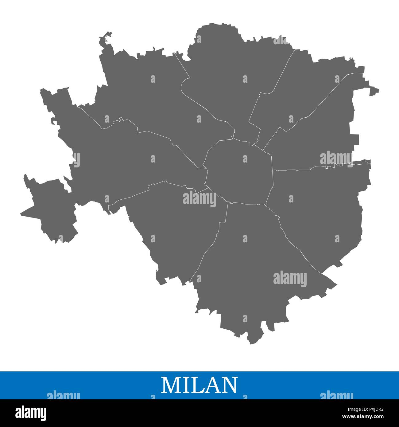 High Quality map of Milan is a city of Italy, with borders of districts - Stock Vector