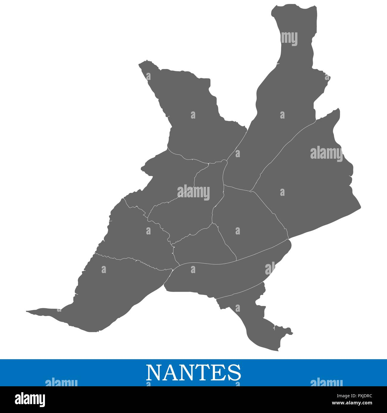 Map Of France Nantes.High Quality Map Of Nantes Is A City Of France With Borders Of