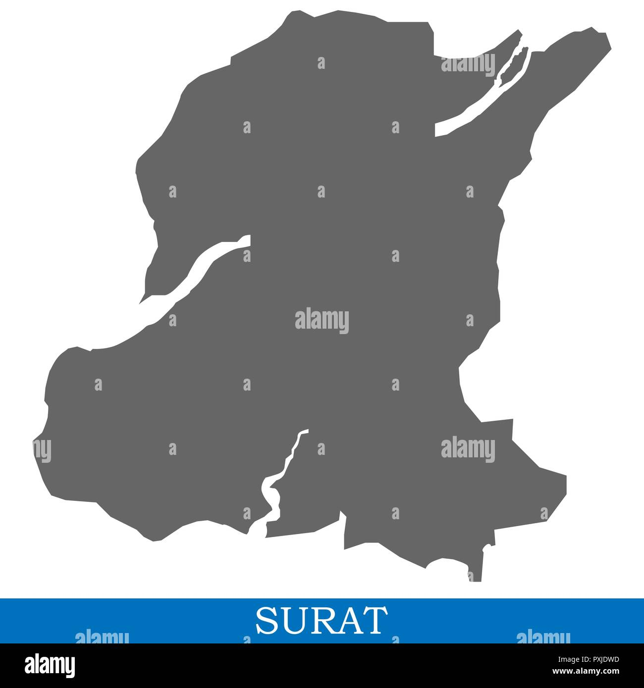 High Quality Map Of Surat Is A City Of India With Borders