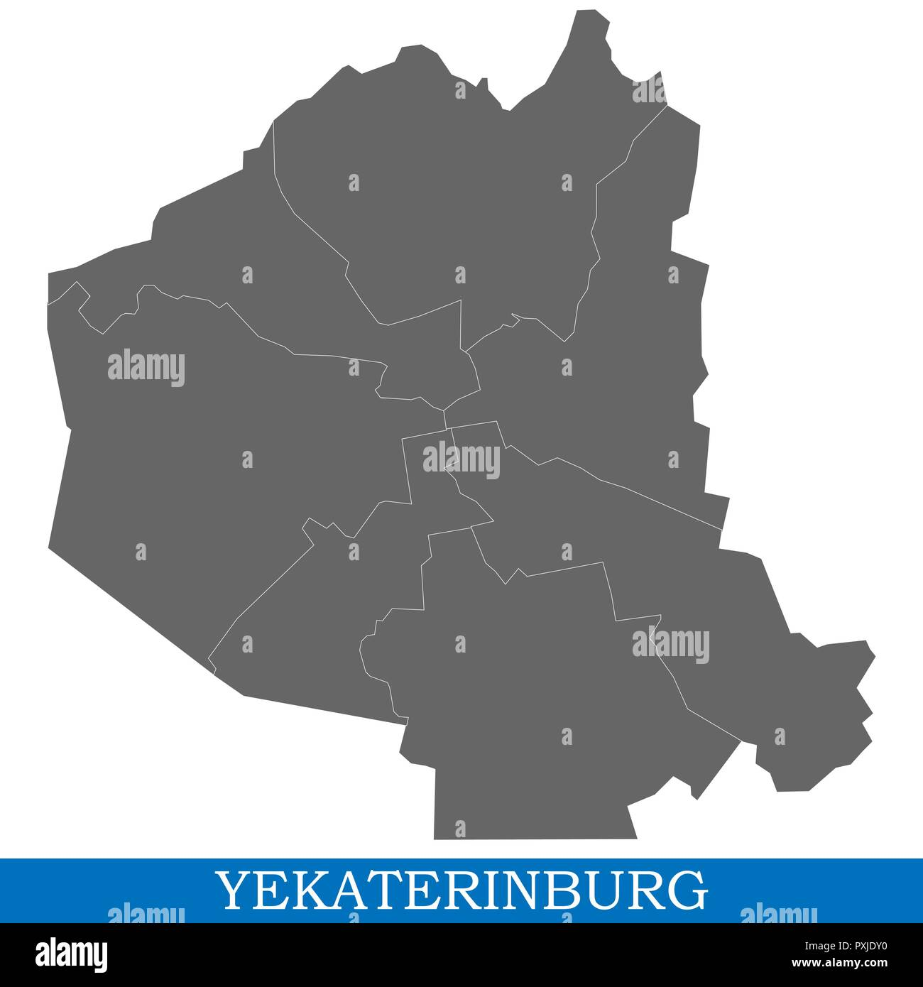 High Quality Map Of Yekaterinburg Is A City Of Russia With Borders