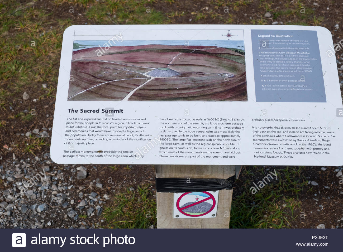 Graphic sign with information about Queen Maeve's Grave Cairn on the summit of Knocknarea, the Neolithic passage tomb cairn measures some 180 feet acr Stock Photo