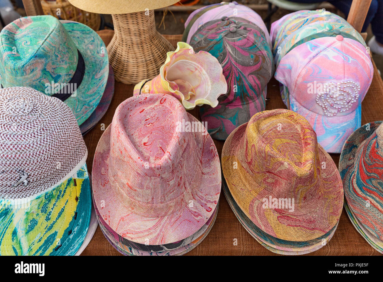 8768f3f0 colorful fedora hats on sale by a local artisan hat maker, Jingjai market,  Chiang