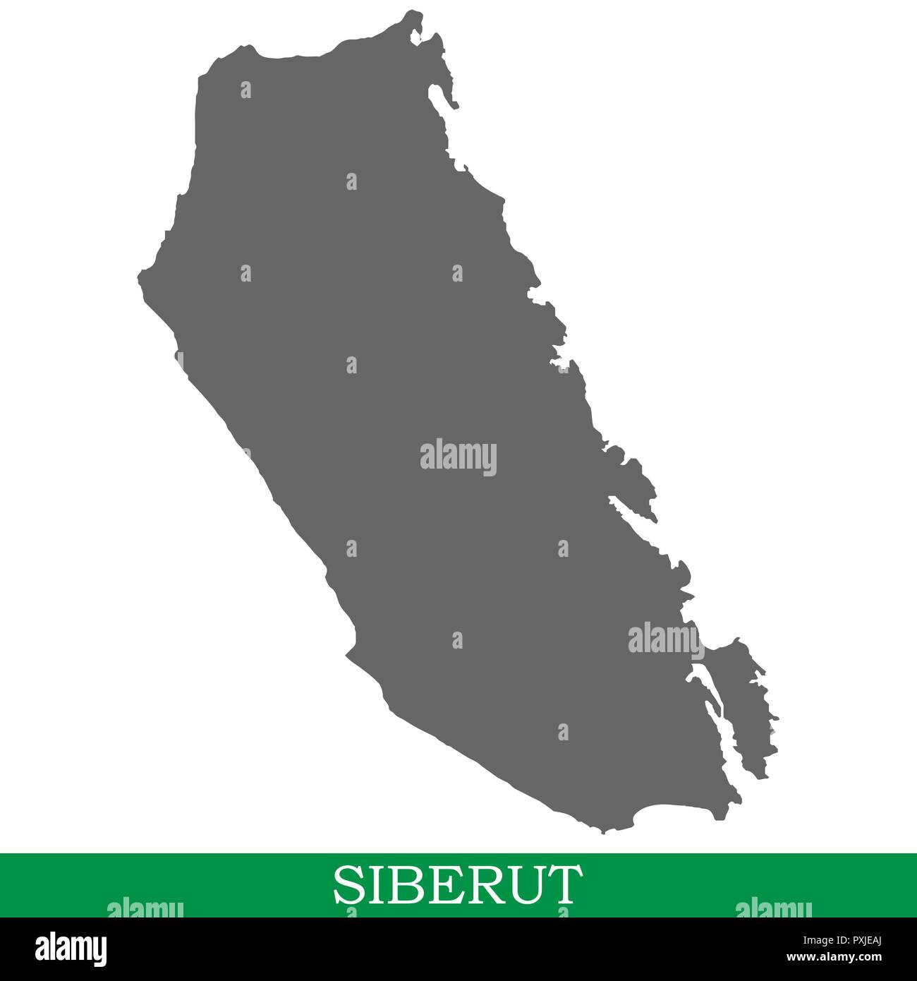 High quality map of Siberut is the island of Indonesia - Stock Image