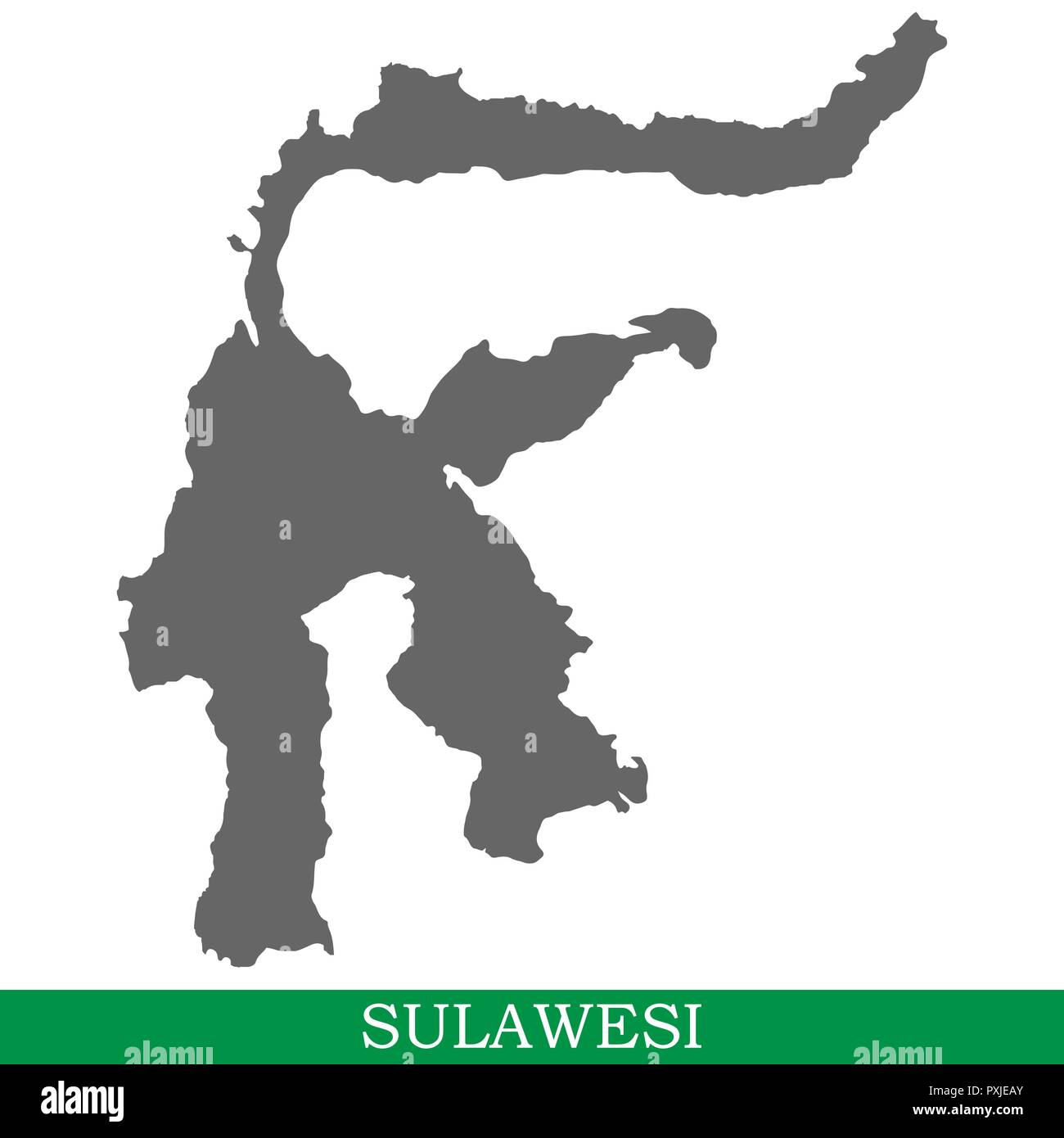 High quality map of Sulawesi is the island of Indonesia - Stock Vector
