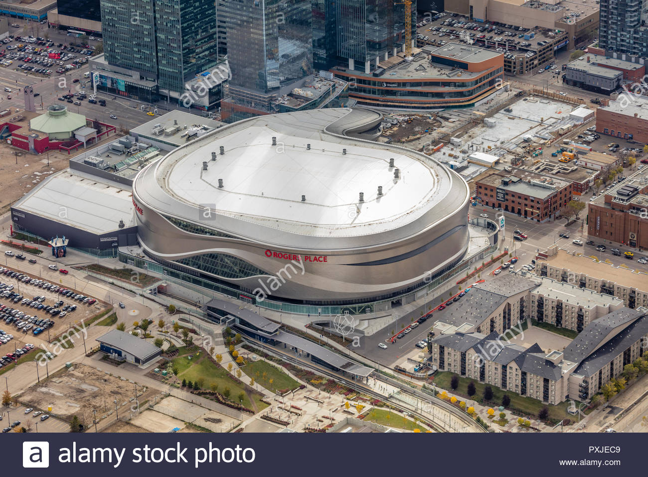 Aerial close up view of Rogers Place arena in Edmonton, Alberta - Stock Image